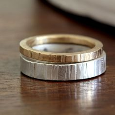 Wood Grain stacking ring set sterling silver and gold