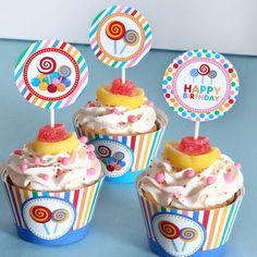 candy land party cupcake (www.venspaperie.com)