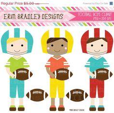 50 OFF SALE Football Players Boys Clipart by ErinBradleyDesigns, $2.50