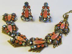 Stunning - Vintage Florenza Peach Rhinestone Demi Paure Bracelet and Earrings - Estate Jewelry by Lavendergems on Etsy