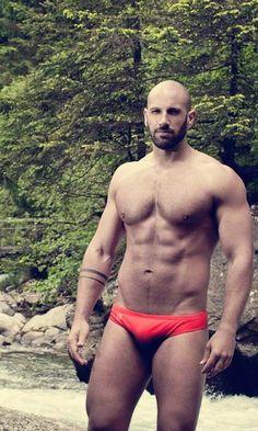 Tumblr, hot guy in swim suit, bikini, speedo, muscular, abs, bald, beard, sexy, men
