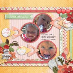 Kelli sure enjoyed her ice cream bar!!  She had lots on her face when she was finished!!  What a cutie! I used LAUGHTER MAKES THE HEART SMILE COLLECTION from Seatrout Scraps found here:  http://www.gottapixel.net/store/product.php?productid=10019409&cat=0&page=1