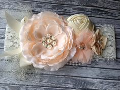 Vintage inspired peach ivory silk satin lace headband,netting,peach ivory headband-newborn, baby,-photo prop-flower girl-bridal on Etsy, $16.99