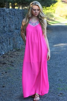 LUCKY IN LOVE HOT PINK MAXI DRESS