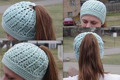 Ponytail Messy bun hat! This hat is perfect for anyone who loves to wear a beautiful crochet hat, but also likes to wear their hair in a ponytail. There is a hole in the top of the hat for the ponytail to go through. Excellent for runners.