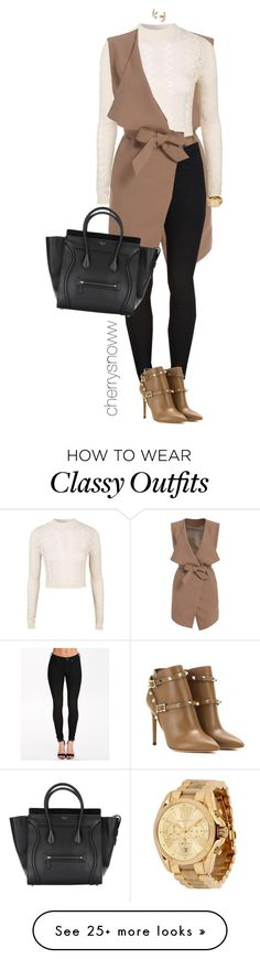 """Classy chic sleeveless coat fall outfit"" by cherrysnoww on Polyvore featuring Mode, Dr. Denim, Valentino, Topshop, Michael Kors und Kate Spade"