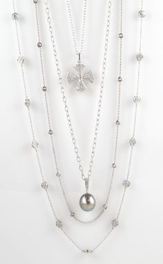 White Gold, Diamonds, and Tahitian Pearl Layered Necklaces