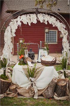 rustic wedding welcome table #weddingceremony #weddingdecor #weddingchicks http://www.weddingchicks.com/2014/02/11/blue-and-coral-backyard-wedding/