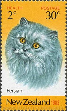 Blue Persian cat | postage stamp - New Zealand, 1983