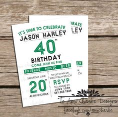 Printable Adult Birthday Invitations - 40th Birthday Invitations - 30th Birthday Invitations - Birthday Party or Milestone Invitations