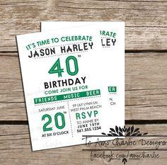 Printable Adult Birthday Invitations - 40th Birthday Invitations - 30th Birthday Invitations - Birthday Party or Milestone Invitations