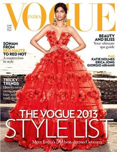 Sonam Kapoor has set the mercury soaring with her oomph and style on Vogue India June issue. Gorgeous Sonam on the cover of Vogue India, wearing Alexander McQueen couture and Dolce & Gabbana earrings. Vogue Magazine Covers, Fashion Magazine Cover, Fashion Cover, Vogue Covers, Sonam Kapoor, Vanity Fair, Marie Claire, Dior, Vogue India