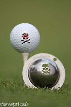 Tin cup. golf ball #marker #system. jolly #roger. skull and crossbones., View more on the LINK: http://www.zeppy.io/product/gb/2/231722390490/