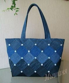 Best 12 Embroidered denim bag Jeans bag with ribbons embroidered Recycled fabric sac Summer floral purse Shoulder bagful Eco friendly tote bag – SkillOfKing. Denim Tote Bags, Denim Handbags, Denim Purse, Leather Handbags, Leather Wallets, Patchwork Bags, Quilted Bag, Denim Patchwork, Jean Purses