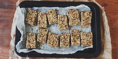 Sweet + Salty Granola Slice Granola i quit sugar granola bars Sugar Free Baking, Sugar Free Treats, Sugar Free Recipes, Paleo Baking, Sugar Free Breakfast, Breakfast Bars, Real Food Recipes, Snack Recipes, Gf Recipes