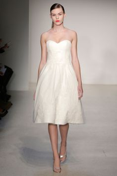 Amsale  TAGS:Knee-length, Strapless, White, Ivory, Amsale, Tulle, Romantic