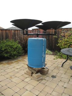 Rainwater saucers and rain barrel