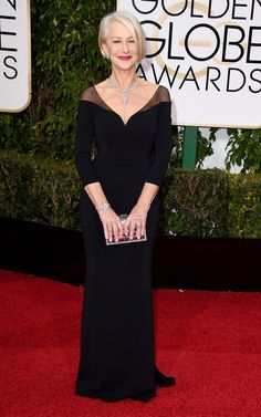 Helen Mirren showcased her flawless physique in a black gown with sheer elements, teamed with Harry Winston jewels. See more of the Golden Globes' best dressed stars here!