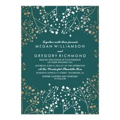 Gold Foil Effect Teal Baby's Breath Wedding
