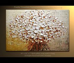 Original 36 x 24 Abstract Oil contemporary Palette Knife Floral painting White Blooms by P. Nizamas