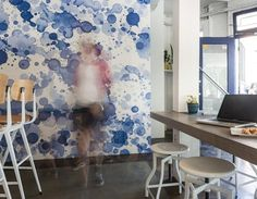 Swept away by this gorgeous, watercolor-y blue wallpaper. #homeinspiration