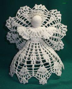 Crochet Angel Pattern, Crochet Angels, Crochet Doily Patterns, Thread Crochet, Crochet Doilies, Crochet Ornaments, Angel Ornaments, Ornament Tree, Christmas Angels