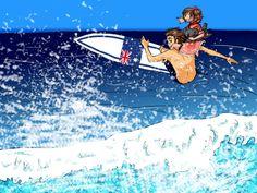 *surfs the waves *-Australia Hetalia Australia, Hetalia Fanart, You Draw, Surfs, Awkward Moments, New Zealand, Fangirl, Cartoons, Asia