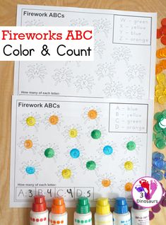 No-Prep Fireworks ABC Color & Count | 3 Dinosaurs Preschool Learning Activities, Alphabet Activities, Book Activities, Preschool Crafts, Kids Learning, Learning Tools, Early Learning, Teaching The Alphabet, Learning Letters