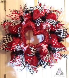 Valentine Day Heart Deco Mesh Wreath by AQuaintHaberdashery, $85.00