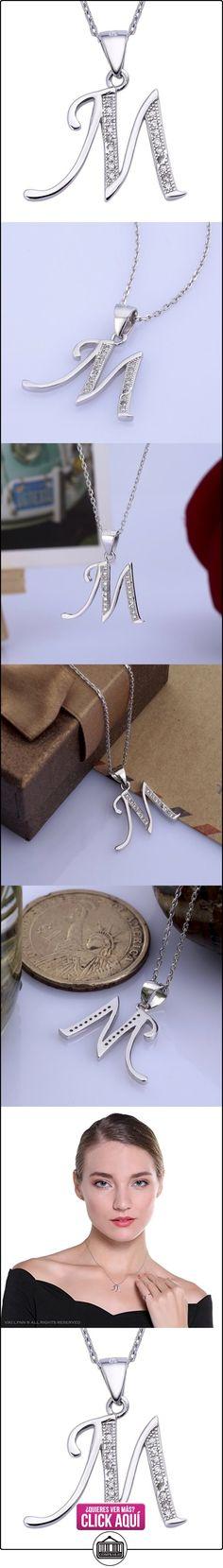 Collar inicial con colgante letra M y zircon 925 plata de ley regalo para mujeres VIKI LYNN  ✿ Joyas para mujer - Las mejores ofertas ✿ ▬► Ver oferta: https://comprar.io/goto/B00FDTRYNO