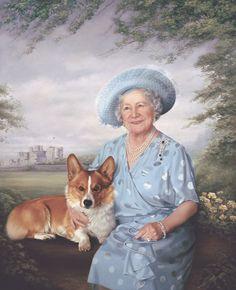 Queen Mother with her corgi Ranger....official portrait by Mara McGregor