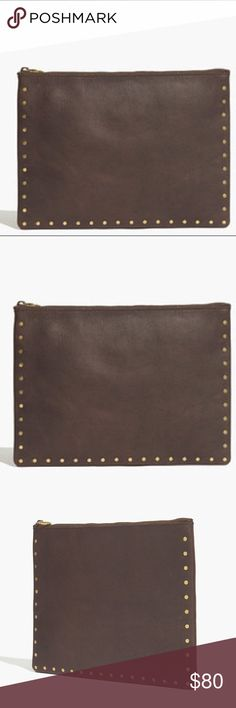 "⭐️ Madewell pouch clutch ⭐️ 🙈🙈 Sold out online!! This streamlined leather pouch is fitted with card slots and a snap-close compartment. Throw it inside your tote or carry it as a clutch (the rivets are pretty party-friendly).  Made of semi vegetable-tanned leather with a softly worn waxed finish that deepens into a distinctive patina. 💖 note: As it is made of a natural material, each clutch varies slightly in texture and color.  Interior pocket. Measures 8 1/4""H x 11 7/16""W.   Open to…"