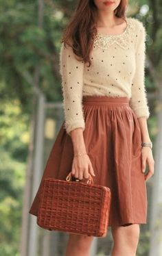 Wool Dots Sweater and  Skirt