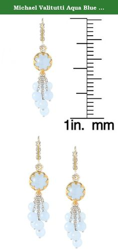 Michael Valitutti Aqua Blue Chalcedony Bead Cluster Dangle Earrings. This exquisite one-of-a-kind Michael Valitutti earing features two-size Aqua Blue Chalcedony (10mm and 6mm). Crafted of palladium silver with a beautifully-constructed undergallery and 18k yellow gold-embraced detailing, these extraordinary gemstone earrings shine with a highly polished finish.