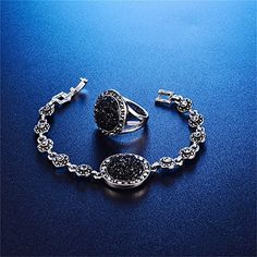 Amazon.com: LUYUAN JEWELRY 4 Packs Hoop Pendant Simulated Diamond Sparkly Jewelry Sets with Bracelet - Ring Size #7: Jewelry