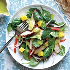 Superfast Entrées Under 300 Calories | Grilled Chicken and Spinach Salad with Spicy Pineapple Dressing | MyRecipes.com