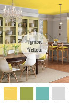 This zesty shade of yellow pairs well with white, aqua, gray, black and so much more. But in a palette with apple green, lemon yellow becomes even more refreshing.  Vote for your favorite color palette at HGTV.com >> http://www.hgtv.com/design/packages/color-vs-color/vote-for-your-favorite-color-palette?soc=pinterest