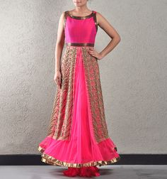 PINK AND BURNISHED GOLD LEHENGA-GOWN