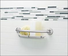 This is a great shower product by Moen that includes the safety of a shower grab bar with an added shelf for holding shampoo, and soap. Handicap Bathroom, Bathroom Remodeling, Bathroom Ideas, Shower Grab Bar, Large Candle Holders, Grab Bars, Wet Rooms, Small House Plans, Bathroom Interior Design