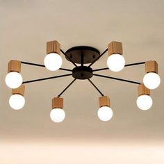 Modern wood LED ceiling chandelier Black White living room bedroom children's room ceiling lustres lamp lustre home lighting #Affiliate