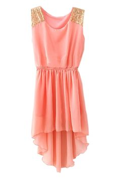 Pink Asymmetrical Hem Paillette Dress  #Romwe