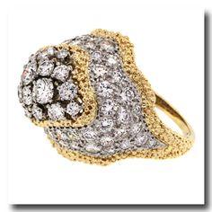Inv. #13745  Fifties 4.0ctw Diamond Ring, 18k / Platinum, American, c1950s. Lawrence Jeffrey Estate Jewelers