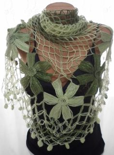Hand crocheted green triangle Shawl Scarf by Arzus on Etsy, $55.00