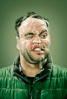 Wes Naman's portraits of friends with scotch tape distorting their faces.