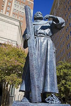 Fray Garcia Monument in Pioneer Plaza, El Paso, Texas, United States of America…
