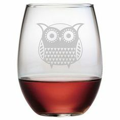"""Stemless wine glass with hand-etched owl detail. Made in the USA.   Product: Set of 4 stemless wine glassesConstruction Material: GlassColor: ClearFeatures: Made in the USA   13.25 Ounces each Dimensions: 4.62"""" H x 2.75"""" Diameter eachCleaning and Care: Dishwasher safe"""