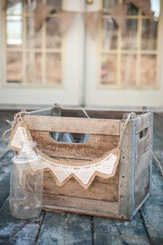 Burlap  Banner and Wooden Crate