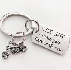 Motorcycle keychain - Ride safe - Gift for biker - Biker keychain - Hand stamped keychain - Keep my biker safe - Custom gift - Hand stamped A special gift for your special biker. This lightweight, sturdy aluminum tag is hand stamped one letter at a time. We've also added a plated