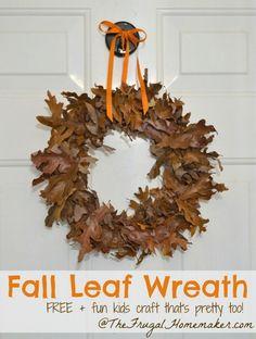 Autumn Wreath - 15 Fabulous Fall Leaf Crafts for Kids