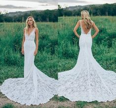2019 Romantic Boho Elegant Backless Lace Wedding Dresses V-neck Sheer Ruched Novia Fitted Mermaid Bohemia Bridal Gowns with Court Train, W0002 · Dressmelody · Online Store Powered by Storenvy